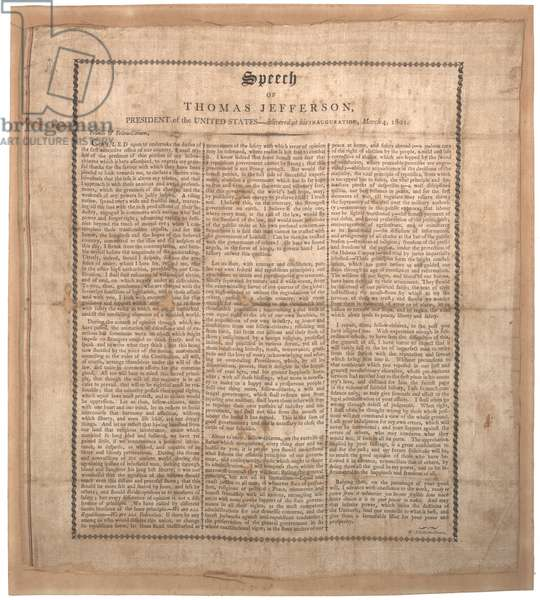Jefferson's first inaugural speech, printed by Pechin, Baltimore, 4th March 1801 (litho on silk)