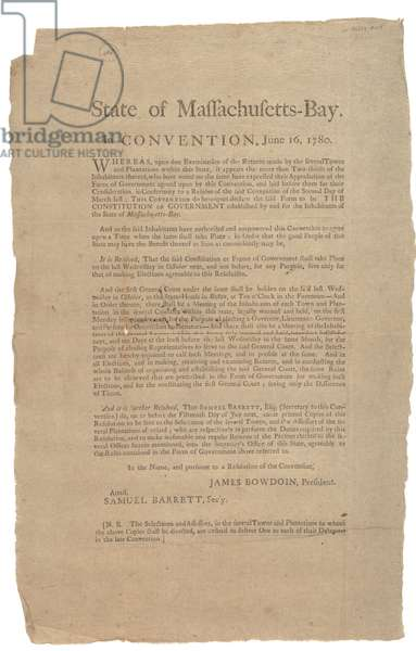 State of Massachusetts in Convention, State Constitution, 16th June 1780 (litho)