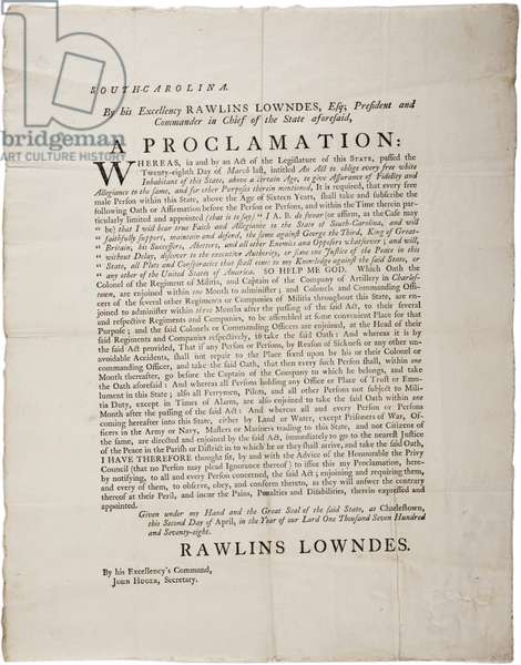 Loyalty Oath to protect Independence of South Carolina, 2nd April 1778 (litho)