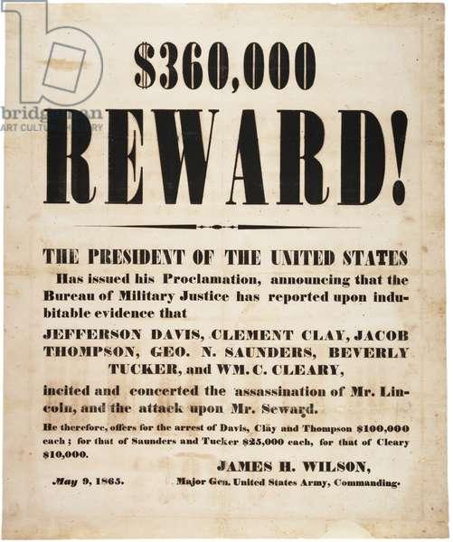 Lincoln assassination reward, 9th May 1865 (litho)