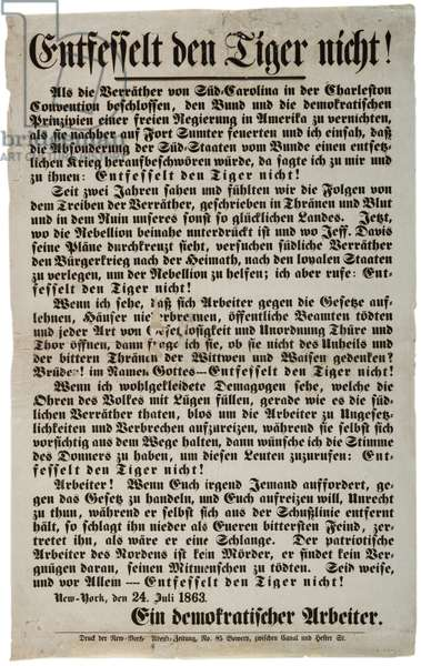 Entfesselt der Tiger nicht! = Don't Unchain the Tiger! [in German], 24th July 1863 (litho)