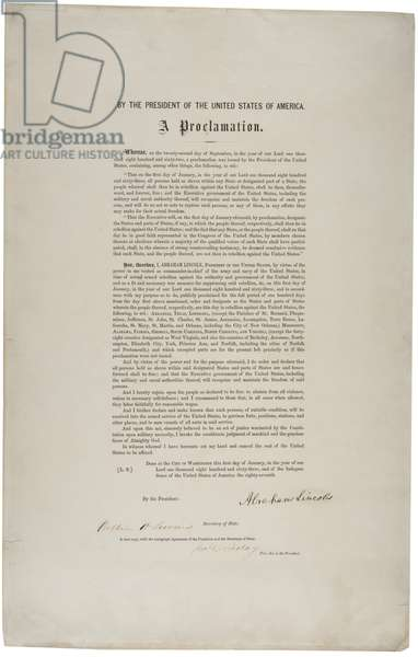Emancipation Proclamation, 1863 (print & pen and ink on paper)