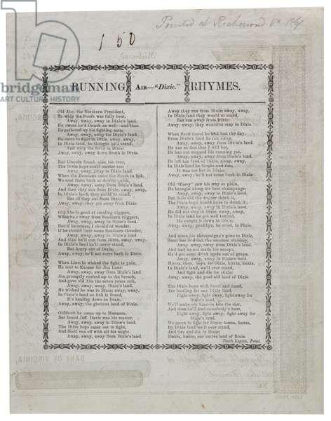 Dixie printed on back of a sheet checks, 1861 (litho)