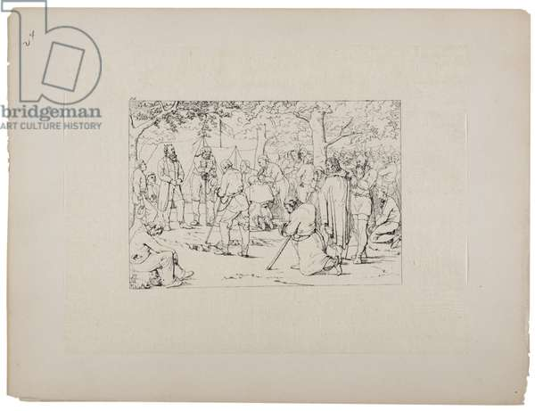 Prayer in Stonewall Jackson's tent, c.1880-90 (etching)