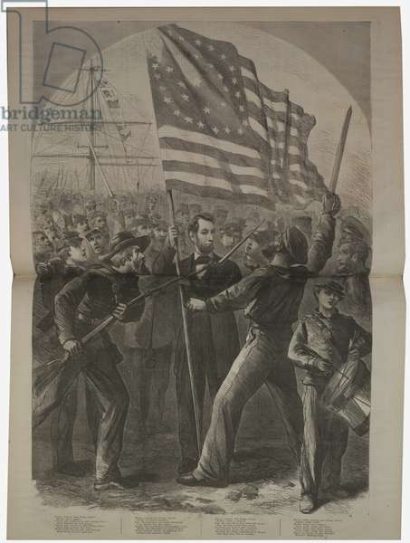 President Lincoln getting involved in the Battle of Fort Stevens, illustration from 'Harper's Weekly', 1864 (litho)