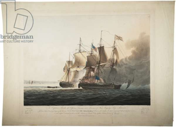His Majesty's Ship Shannon capturing the American Frigate Chesapeake, 1813 (colour litho)