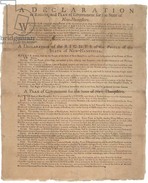 A Declaration of Rights, and a plea of government for the State of New Hampshire, 1779 (litho)