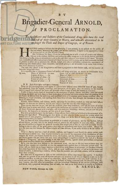 Proclamation to officers and soldiers of the Continental Army, 20th October 1780 (litho)