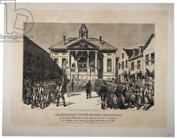 The Inauguration of General Washington as the First President of the United States, c.1870s (photolitho)