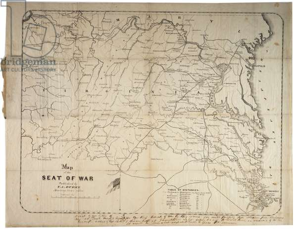 Map of the Seat of War, made in Savannah, Georgia, 1861 (litho)