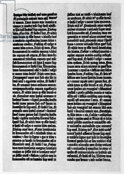 A Page from Gutenberg's 42-Line Bible, Origally Printed in 1455