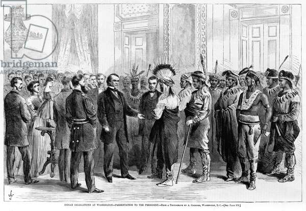 Indian Delegations at Washington, Presentation to the President (February 23, 1867) Washington, D.C., from 'Harper's Weekly', March 16, 1867 (print)