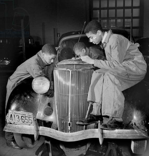 Students in Auto Repairs Class, Armstrong Technical High School, Washington DC, USA, Marjorie Collins for Farm Security Administration, March 1942