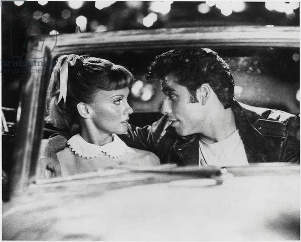 "Olivia Newton-John, John Travolta, on-set of the Film, ""Grease"", 1978 (b/w photo)"