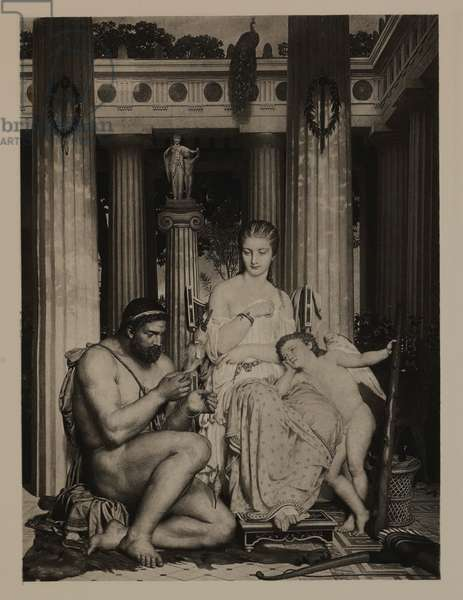 Hercules and Omphale (Greek Mythology), The Masterpieces of French Art by Louis Viardot, Published by Gravure Goupil et Cie, Paris, 1882, Gebbie & Co., Philadelphia, 1883