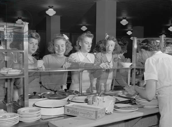 Teenage Girls at Cafeteria Counter, Woodrow Wilson High School, Washington DC, USA, Esther Bubley for Office of War Information, October 1943