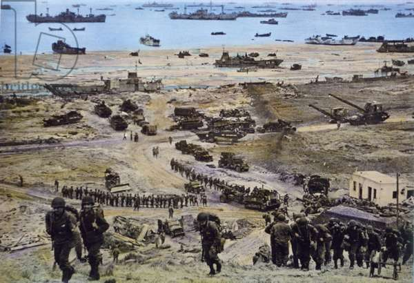 American Men and Equipment Moving in on Omaha Beach, Normandy, France, by U.S. Signal Corps, June 8, 1944 (photo)