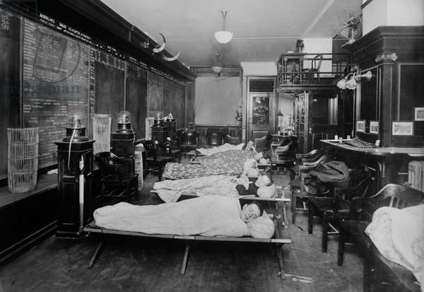 Workers Sleeping at 2am, Broker's Office, Wall Street, New York City, New York, USA, circa 1910