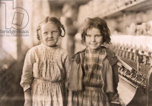 Portrait of Two Young Girls at Cotton Mill, Tifton, Georgia, USA, circa 1909