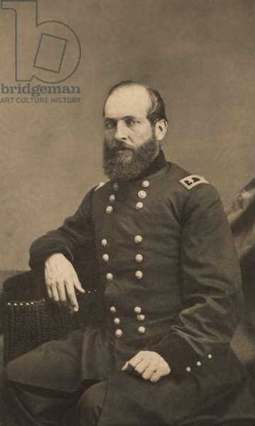 Major General James Abram Garfield of 42nd Ohio Infantry Regiment and General Staff U.S. Volunteers Infantry Regiment, Seated Portrait in Uniform, 1861 (b/w photo)