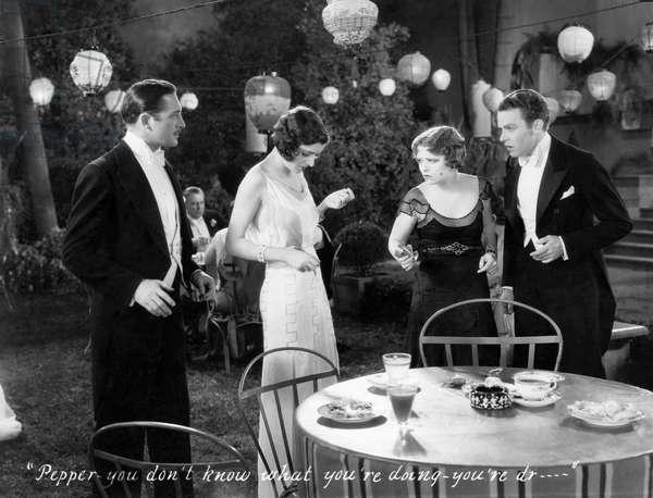 "Barbara Bennett, Clara Bow, Stanley Smith, on-set of the Film, ""Love Among the Millionaires"", 1930"