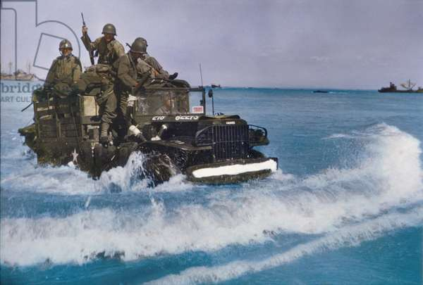 U.S. Military Truck with Soldiers driving through water toward shore during Invasion of Normandy, France, June 1944 (photo)