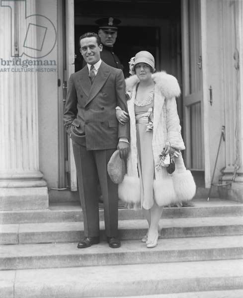 Actor Harold Lloyd and wife, Actress Mildred Davis, Portrait at White House, Washington DC, USA, 1925 (b/w photo)