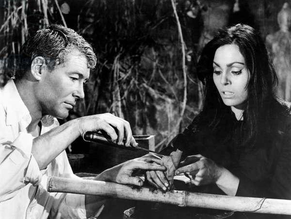 """Peter O'Toole, Daliah Lavi, on-set of the Film, """"Lord Jim"""", 1965"""