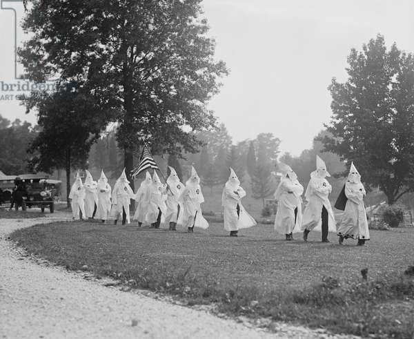 Ku Klux Klan Funeral, Washington DC, USA, 1923 (b/w photo)