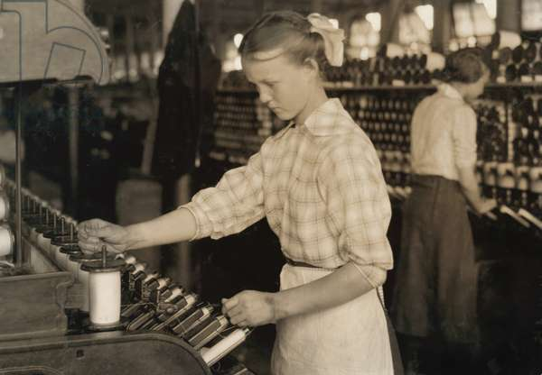 15-year -old Girl Working as Spooler Tender in Cotton Mill, Adams, Massachusetts, USA, circa 1916
