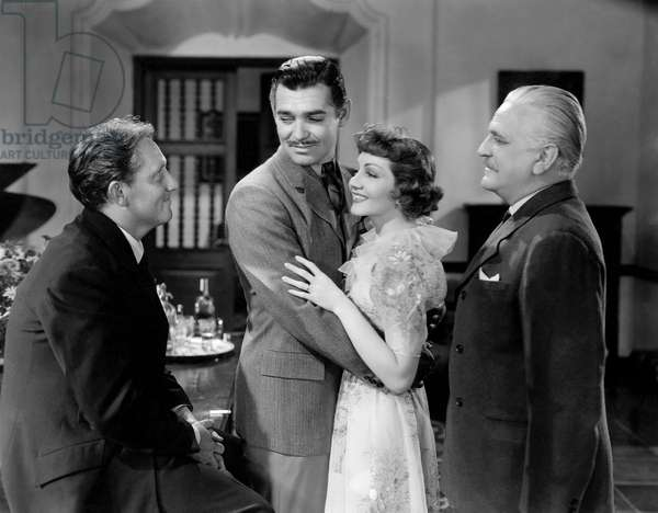 """Spencer Tracy, Clark Gable, Claudette Colbert, Frank Morgan, on-set of the Film, """"Boom Town"""", 1940"""