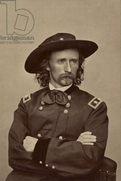 Major General George Armstrong Custer, Portrait in Uniform, Union Army, USA, 1865 (b/w photo)