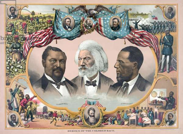 """Heroes of the Colored Race"", Featuring Blanche Kelso Bruce, Frederick Douglass, and Hiram Rhoades Revels, published by J. Hoover, Philadelphia, 1881 (chromeolithograph)"