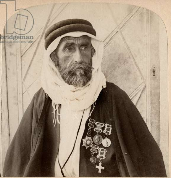 Sheikh el Rachid, Chief of the Escorts and greatest Bedouin of Palestine, Single Image of Stereo Card, 1900
