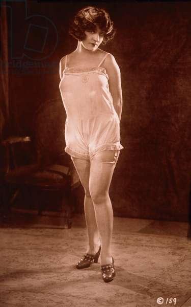 Lingerie model, c.1920 (b/w photo)