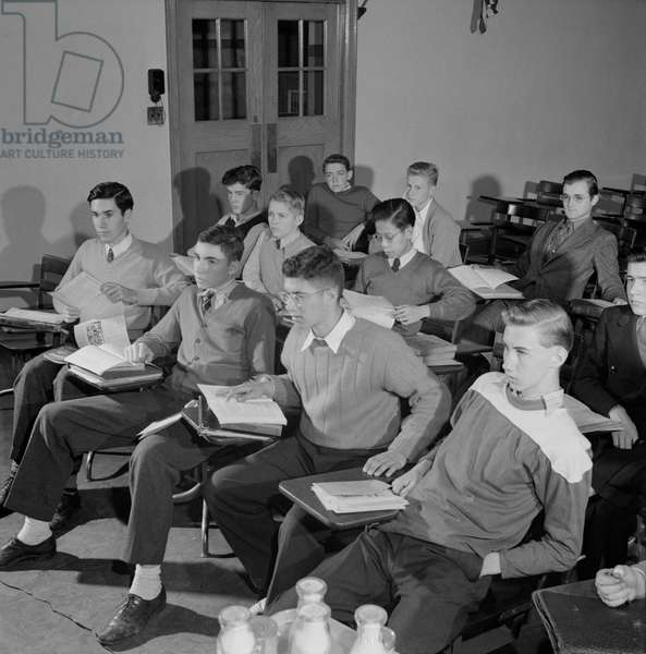 Teenage Boys in Classroom, Woodrow Wilson High School, Washington DC, USA, Esther Bubley for Office of War Information, October 1943