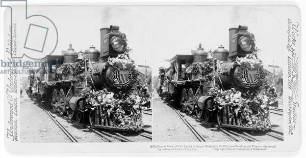 Affectionate Labor of Fair Hands to honor President McKinley--Presidential Engine Decorated by Ladies of Santa Cruz, Cal., Stereo Card, Underwood & Underwood, 1901 (b/w photo)