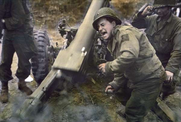 American Howitzers Shell German Forces Retreating near Carentan, France, Franklin, U.S. Signal Corps, July 11, 1944 (photo)