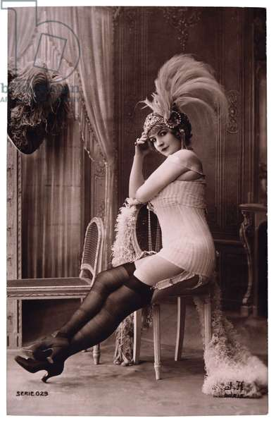 French Lingerie Model in Nylons and Ornate Hat, 1920