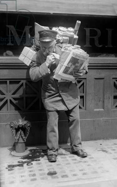 Mailman Delivering Mail and Packages, New York City, New York, USA, Bain News Service, May 1920 (b/w photo)