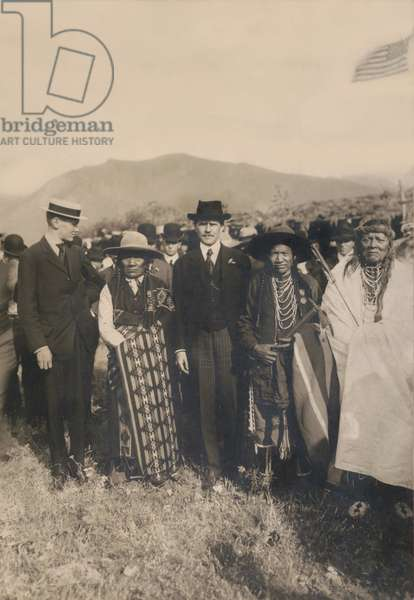 Secretary of the Interior, James Rudolph Garfield, his son with Chief Carlos and his son, Flathead Indian Reservation, Montana, USA, 1907 (b/w photo)