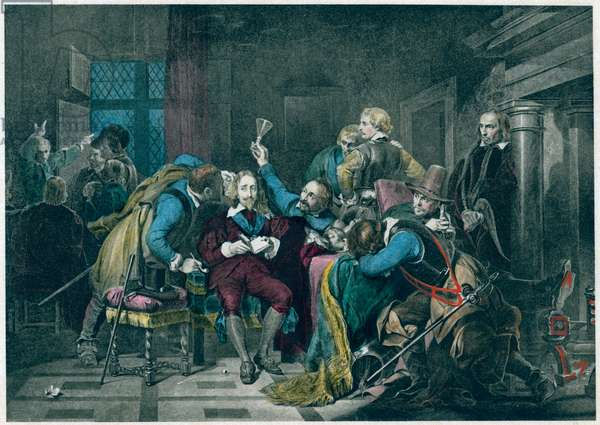 Charles I Insulted by Cromwell's Soldiers, from 'The Diary of John Evelyn'by M. Walter Dunne, 1901 (photogravure)