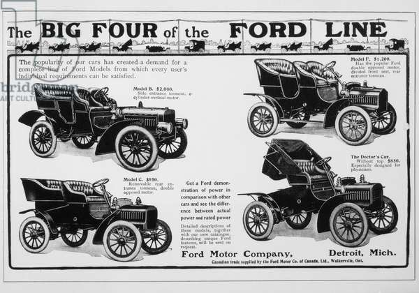 Ford Motor Company Advertisement Featuring the Big Four Automobiles, circa 1909