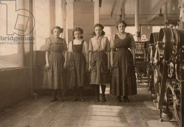 Portrait of Four Girls in Textile Mill, Fall River, Massachusetts, USA, circa 1912