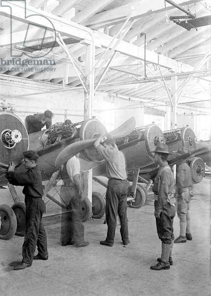Workers Putting Propellers on Airplanes during World War I, Lowe, Willard & Fowler Engineering Company, College Point, Queens, New York, USA, Bain News Service, August 1917 (b/w photo)
