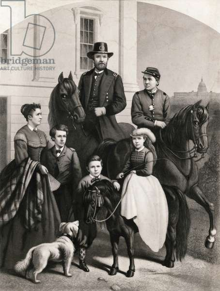 General Grant and his Family, Full-Length Portrait of Ulysses S. Grant standing next to his Wife and four Children, published by Daughaday & Becker, 1868 (print)