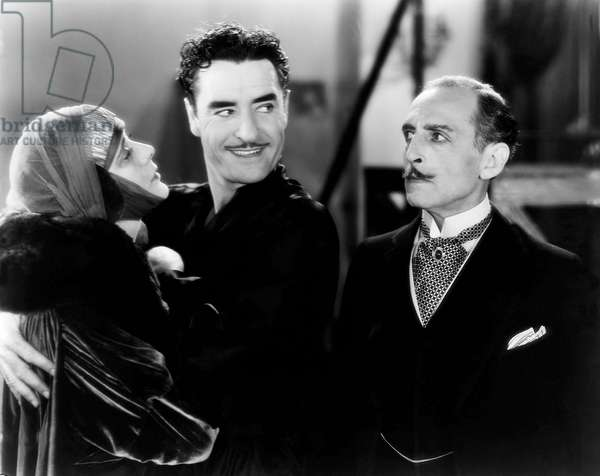 Alma Rubens, John Gilbert, Frank Reicher, on-set of the Silent Film