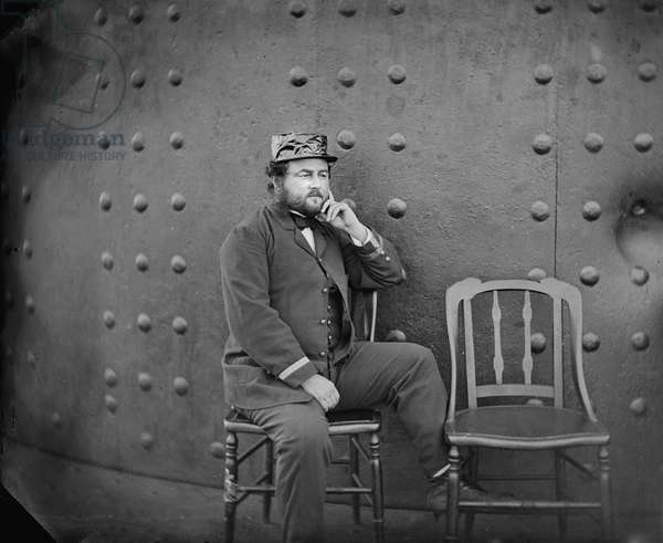 Captain William Nicholson Jeffers on deck of U.S.S. Monitor, James River, Virginia, USA, 1862 (b/w photo)