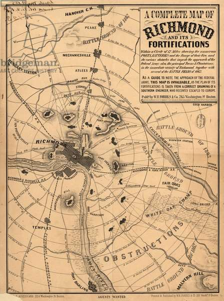 A Complete Map of Richmond and its Fortifications, American Civil War, published by William H. Forbes & Co., 1863 (litho)