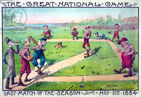 """The Great National Game - Last Match of the Season to be Decided Nov. 11th 1884"", Sandlot Baseball Game Featuring Presidential Hopefuls, Macbrair & Sons, Cincinnati, Ohio, 1884 (litho)"